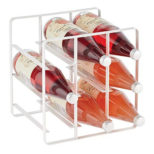mDesign Estante para vino y otras botellas – Atractivo soporte para botellas – Organizador de vino con 3 niveles de acero – Botellero para armario de cocina, despensa o salón – blanco