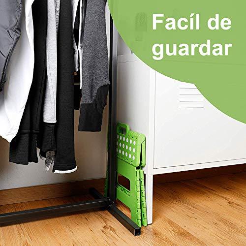 Hanselhome Taburete Plegable de Plástico Verde 28 x 21 x 22 cm