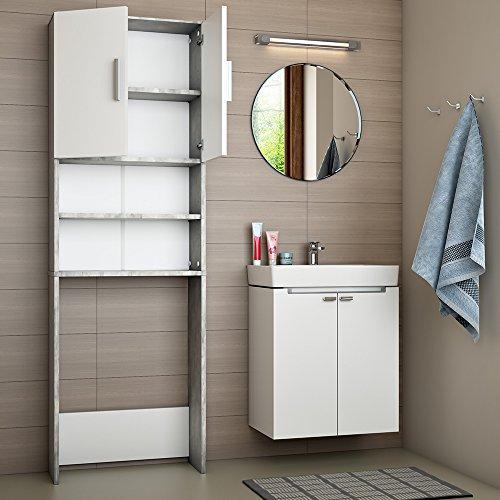 Vicco - Armario para Lavadora, 190 x 64 cm, Mueble de baño, Estante Alto, Color Gris