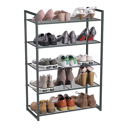 SONGMICS Estante para Zapatos de 5 Niveles, Organizador de Zapatos Apilable, 15-20 Pares de Zapatos, Estante Metálico para Zapatos, 63 x 30 x 92 cm (Largo x Ancho x Alto), Gris Ahumado LMR85GC