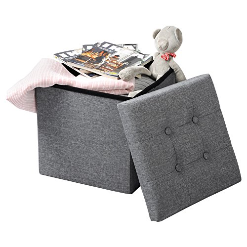 WOLTU Puff Baúl Plegable CuadradoTaburete para Almacenamiento Otomanos Caja de almacenaje con Tapa Reposapiés Sofá 37,5x37,5x38cm Gris Claro Lino SH06hgr-1