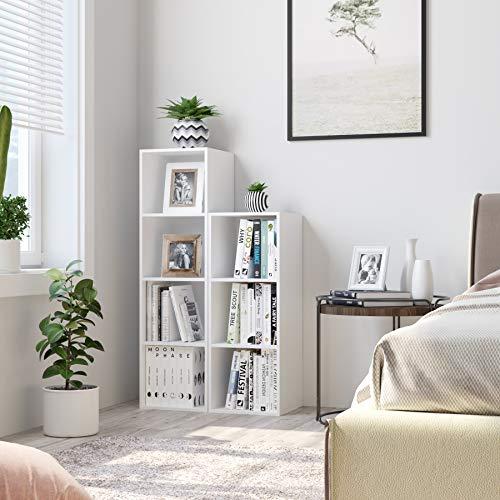 Homfa Estantería para Libros Estantería de Pared Librería con 4 Niveles para Salón Estudio Blanca 30x30x106cm