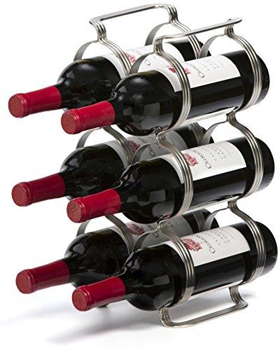 Botellero Para Vino de 6 Botellas - Plata