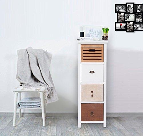 Rebecca Mobili Cómoda Dormitorio, con 4 cajones, Blanco marrón Beige, Estilo Vintage, Muebles hogar baño - Medidas: 89 x 31 x 27 cm (AxANxF) - Art. RE4316