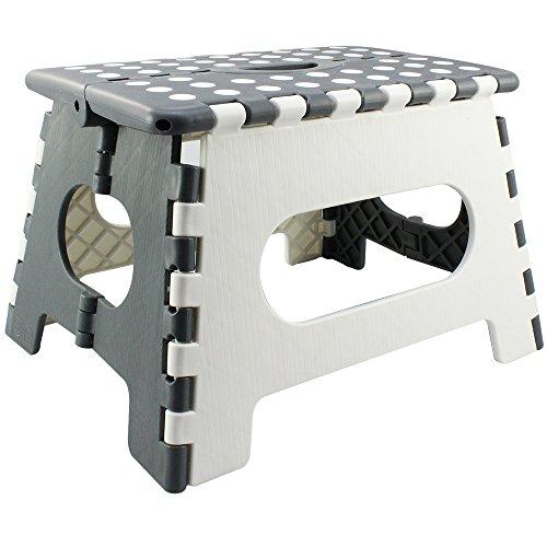 com-four® Pata Plegable con perillas de Goma, Taburete Plegable en Blanco/Gris, 34,5 x 22 x 27 cm (34,5 x 27 x 22 cm Blanco/Gris - 01 Piezas)