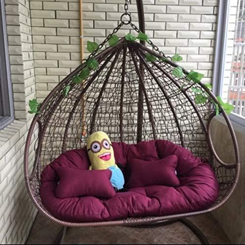 Doble Silla Colgante de la Cesta Asiento Gruesa Silla del oscilación Cojin para Silla El balcón Nido de pájaro Cojines para sillas Patio Jardín Silla de la Rota Cojin de Asiento-PúrpuraA Doble
