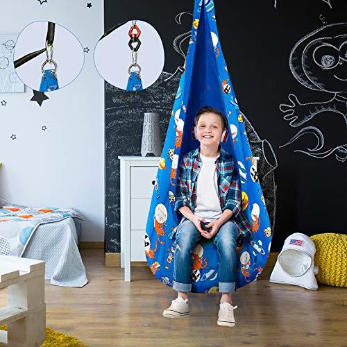 Greenstell Kids Pod Swing Seat con Kits de Hardware, Silla de Hamaca para Niños Patrón de Impresión de Dibujos Animados para Interiores y Exteriores. (Azul Oscuro)