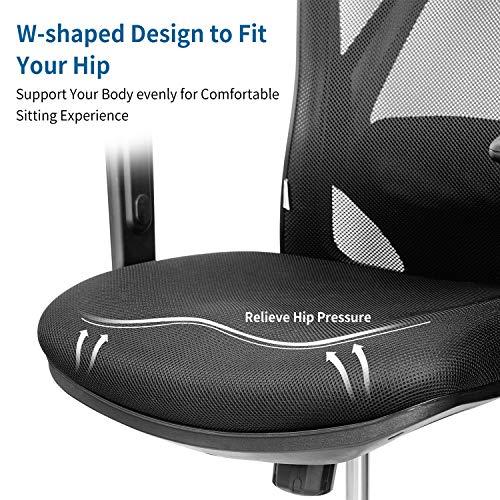 mfavour - Silla de oficina ergonómica, silla de escritorio para ordenador, silla giratoria con cojín de diseño de red, reposacabezas y reposabrazos ajustables, función de balanceo, carga máxima 150 kg