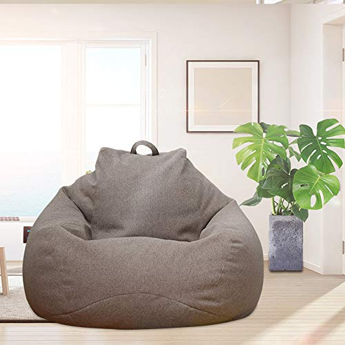 Iraza Puff Funda de Bean Bag,Kit de Sillónes de Hinchables de Adulto Infantil,piel sintetica, para Sala Dormir(Marron-100x120cm)