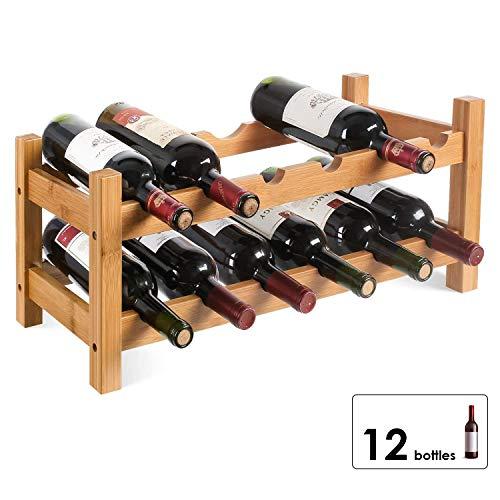 Homfa Botellero Vino Estantería de Vino Estante del Vino para Salón Cocina Comedor para 12 Botellas de 2Niveles Bambú 60x24x25cm