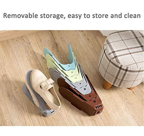Cozywind 8pcs Zapatos Organizador de Calzado Zapatero Ajustable Individual de Doble Capa Plástico Que Ahorra Espacio de Almacenamiento,Gris