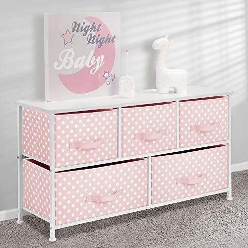 mDesign Cómoda de tela con 5 cajones – Práctico mueble auxiliar de almacenaje para las habitaciones infantiles, los dormitorios, etc. – Preciosa cajonera con cajones de tela – rosa/blanco