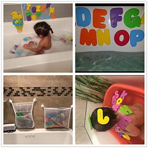 2 x Red de Malla, Organizador de Juguete de Baño+36 Letras y números de baño, Bolsa de Almacenamiento Soporte con Ventosa con 6 Gancho Fuerte ara Cuarto de baño y bañera
