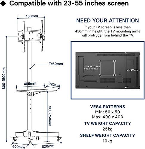 BONTEC Soporte TV Ruedas Soporte TV Suelo para 23-55 Pulgadas Plasma/LCD/LED Soportes TV de Pie para Pantalla Plana Móvil Carro de Exhibición Trole, Máx. VESA 400x400 mm