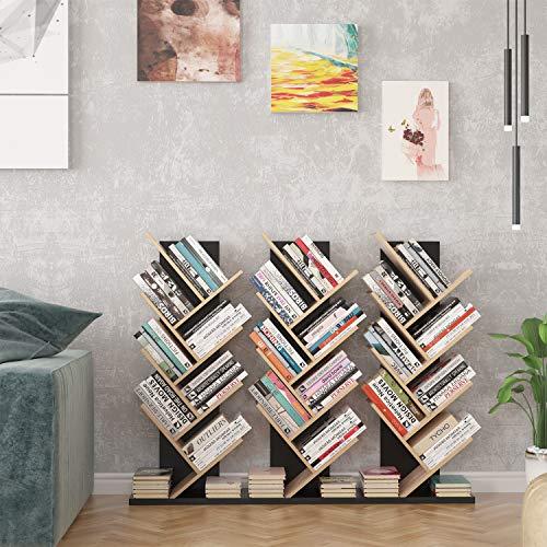 Homfa Estantería para Libros Librería de Árbol Estantería de Pared con 8 Estantes Estantería Almacenaje Libros (Negro Roble)