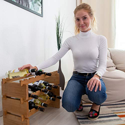 Relaxdays Botellero Vino Apilable hasta 36 Botellas, Bambú, Marrón, 3 Niveles