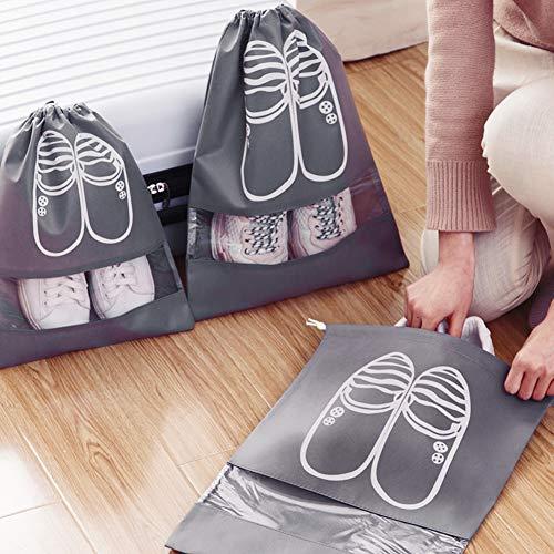 XDDIAS 12 Piezas Bolsa de Zapatos, Impermeable Bolsa a Prueba de Polvo Zapatos, Zapatos de Viaje Bolsa de Acabado con Ventana Transparente para Hombres y Mujeres