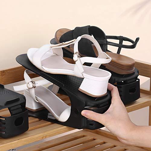 amzdeal - 20pcs Organizadores de Zapatos Ajustables Soportes de Calzado con Ranuras Ahorra 50% de Espacio PP 3 Niveles Altura para Calzado Deportivo Tacones Altos Zapatos Planos