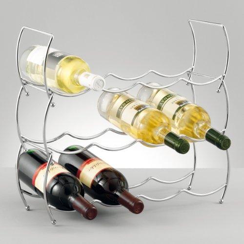 Zeller 27356 Estantería de Vino, Cromo, Plateado, 42x14x14 cm, 3 Unidades