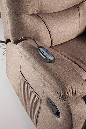 ECODE Sillón de Masaje Relax Imperial tapizado en Tela ECO-8500 Color Marrón