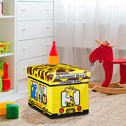 Relaxdays Puff Almacenaje de Juguetes Autobús Animal - Piel Sintética, Amarillo, 32 x 48 x 32 cm