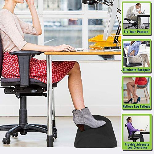 Bajo el reposapiés del escritorio, cojín ergonómico resistente del reposapiés de espuma con tela de terciopelo y superficie inferior antideslizante, reposapiés y pies para la oficina y el hogar-Negro