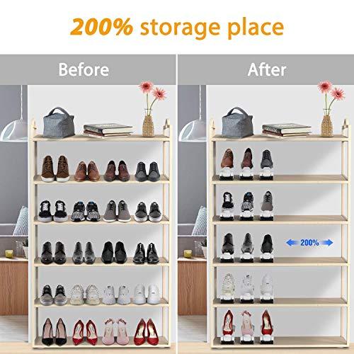 PREUP Organizador Zapatos Set de 12pcs Soporte de Calzado de 4 Niveles Altura Ajustable Organizadores de Zapatos Ahorra 50% de Espacio para Mujeres y Hombres