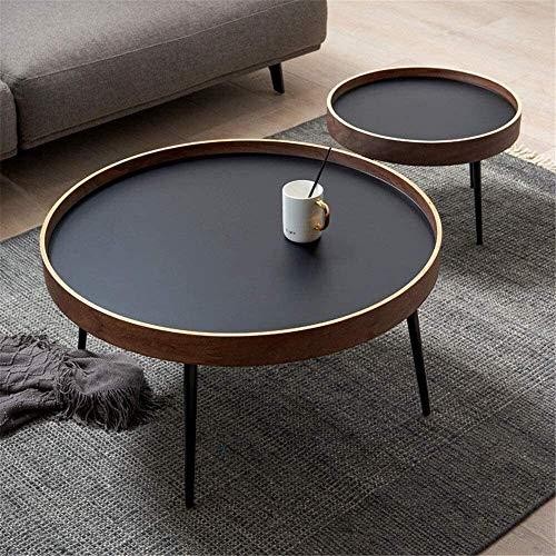 LAZ Tabla Moderna Nuez Sofá Parte Redonda de Madera Maciza Mesa de té, Hierro Mesa de café