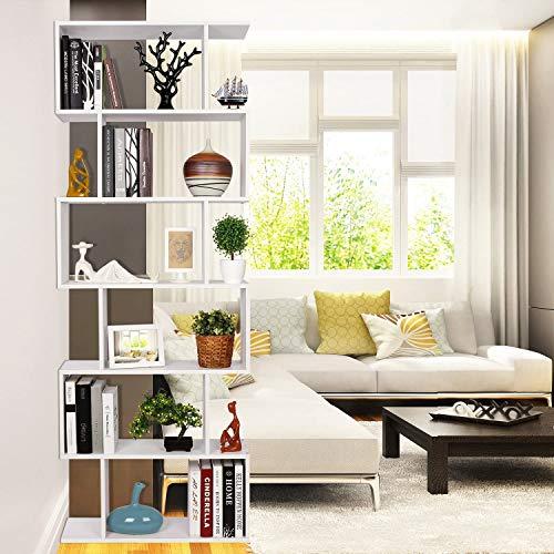 Homfa Estantería librería 6 Estantes Estantería Pared Estantería Libros de diseño Blanco 70x23.5x190.5cm