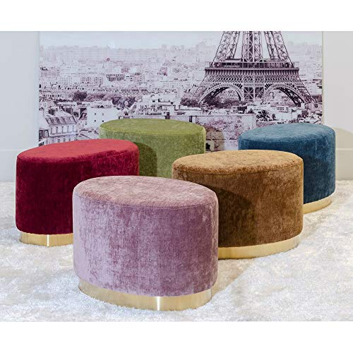Puff tapizado en Terciopelo Rosa Moderno para salón France - LOLAhome