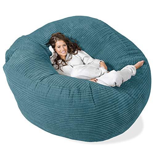 Lounge Pug®, Puff Gigante 'Mega-Mamut', Pana Clásica - Egeo Azul