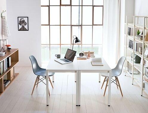DlandHome Escritorios Mesa de Conferencia 160x60cm Mesa de Comedor Mesa de Ordenador Escritorio de Oficina Mesa de Estudio, Blanco