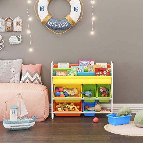SONGMICS Estantería Infantil para Juguetes y Libros, Librería de 3 Niveles con 6 Cajones, 86 x 27 x 78 cm GKR03W