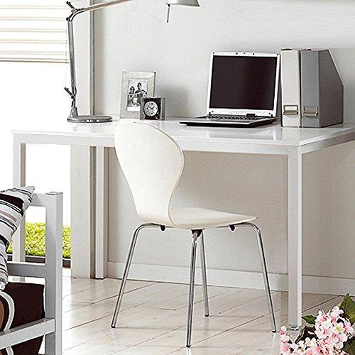 DlandHome Mesa de Ordenador 100x60cm Escritorio de Oficina Mesa de Estudio Puesto de Trabajo Mesa de Despacho, Blanco