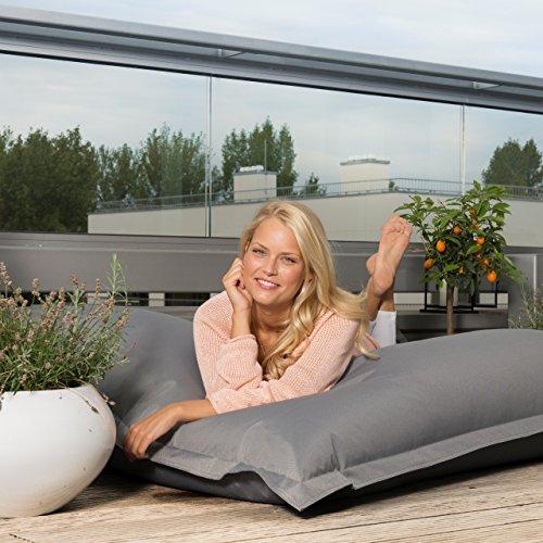 Lumaland PUF otomano Puff XXL 140 x 180 cm 380l con Relleno Innovador Maxi Puff Interior Exterior Turquesa