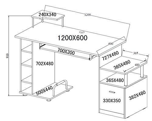 HOMCOM Mesa de Ordenador PC para Oficina Despacho Estudio Dormitorio Escritorio Madera 152x60x88cm Negro