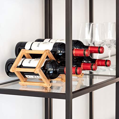 Navaris Estante para almacenar Botellas de Vino - Botellero pequeño de bambú para 5X Botella - Estantería pequeña Plegable - Soporte para vinos