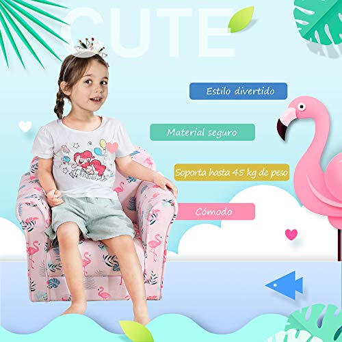 HOMCOM Sillón Infantil Bonito Mini Sofá para Niños Mayores de 12 Meses Ergonómico Patas Antideslizantes Asiento Acolchado Grueso 50x39x44 cm Rosa