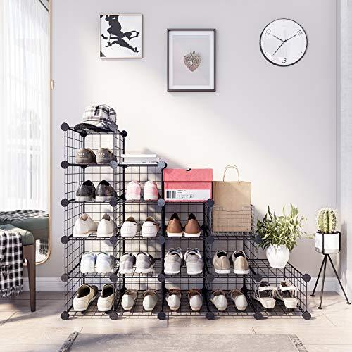 SONGMICS Zapatero Modular con 15 Cubos, Rejilla de Alambre de Metal, Estantería de Almacenamiento de Bricolaje, Organizador de Zapatos de Enclavamiento para el Dormitorio vestíbulo Negro LPI44HS