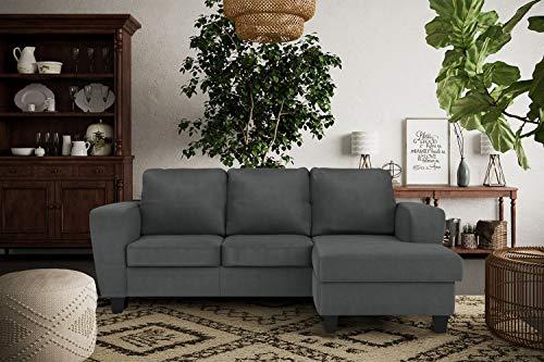 Confort24 Dany Hogar Sofa Chaise Longue 3 plazas Esquinero Rebersible Izquierda o Derecha Gamuza Gris