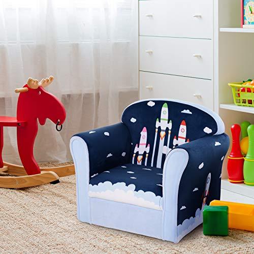 HOMCOM Sillón Infantil Sofá para Niños +12 Meses con Dibujos de Cohete Estructura de Madera Cubierta de Franela de Espuma 50x39x44cm Azul