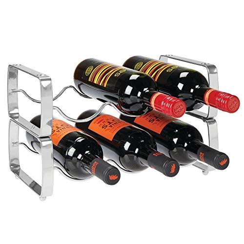 mDesign Juego de 2 botelleros apilables – Estante para vino de metal con capacidad para 3 botellas – Mueble vinoteca manejable para botellas de vino u otras bebidas – plateado