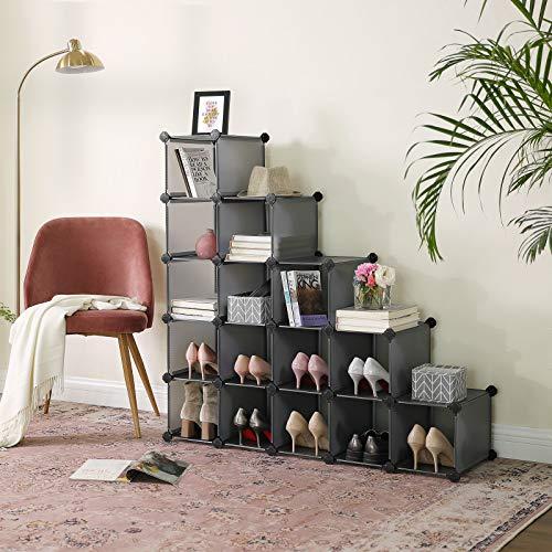 SONGMICS Estanteríapara Zapatos de 15 Rectángulos, Organizador de Almacenamiento de Bricolaje, Unidad Entrelazada, para Bolsas de Ropa Juguetes, 22 x 35 x 22 cm Cada Ranura, Gris LPC44G