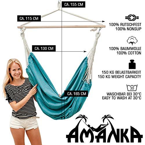 AMANKA Innovador XXL Silla Colgante 185x130 Asiento de Lona para 2 Personas Azul