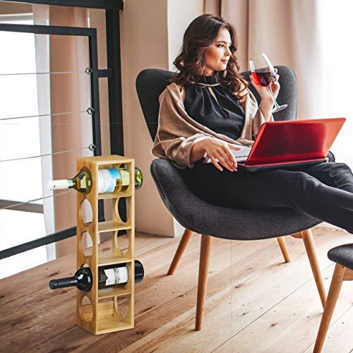 Relaxdays Botellero Vino, Soporte Botellas, Estante con 5 Baldas, Estantería para Bebidas, Bambú, 53 x 14 x 12 cm, Marrón/Transparente