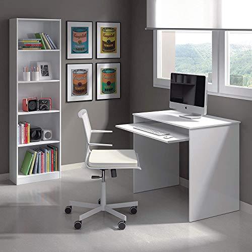 Habitdesign Estantería Juvenil 6 baldas, Librería Vertical, Modelo I-Joy, Acabado en Color Blanco Artik, Medidas: 180 cm (Alto) x 52 cm (Ancho) x 25 cm (Fondo)