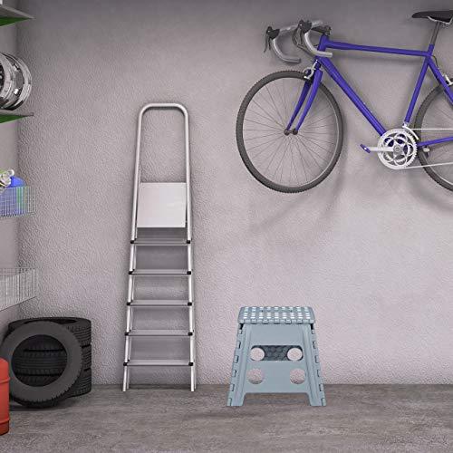 Relaxdays Taburete (tamaño L, Plegable, portátil, 120 kg, plástico, Altura: 32,5 cm), Color Gris Claro, 1 Unidad
