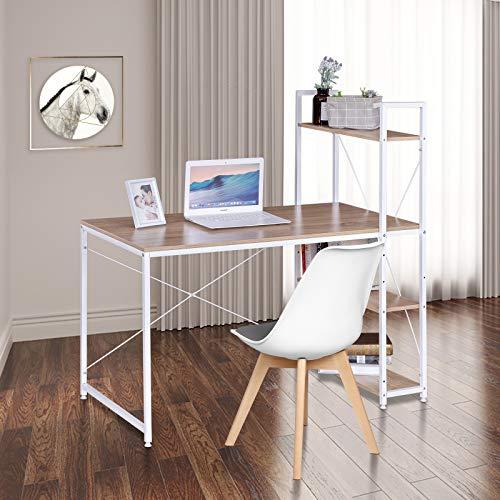 eSituro Mesa de Oficina Escritorio de Ordenador Muebles de Oficina de PC Trabajo de Madera y Acero, con Tres Estante, Aprox. 120x64x120 cm Roble + Blanco SCD0068