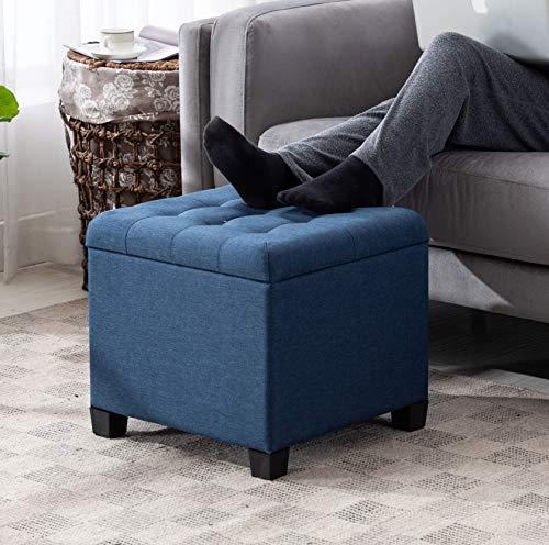 HNNHOME® - Otomana de almacenamiento, forma de cubo, 45 cm, de lino, asiento acolchado con tapa