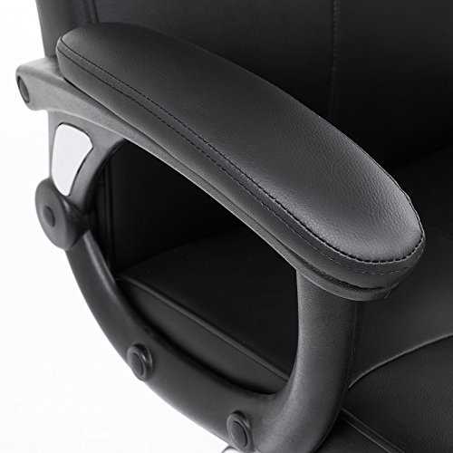 SONGMICS OBG32B - Silla Giratoria de Oficina, PU Resistente, Ajustable en Altura, Diseño Ergonómico, Negro
